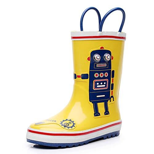 ZJOUJ Regenstiefel- Kinder Persönlichkeit Roboter Doodle Regen Stiefel, Student Outdoor rutschfeste Gummi Regen Spitze Griff (Farbe : Gelb, größe : 17.5cm) (Regen Spiderman Jungen Stiefel)