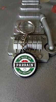 Porte clés 25 mm Je suis un Parrain qui déchire