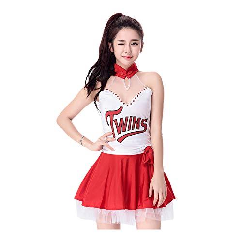 (Meijunter Damen Cheerleader Kostüm - Sehen Durch Mesh Cheer Girls Uniform Schick Kleid Party Halloween Cosplay Outfit)