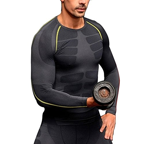 Allouli Men's Sports Tight Base Layers Long Sleeve Stretchy Tee Shirt Sport Top (Plissee-neck Tee)