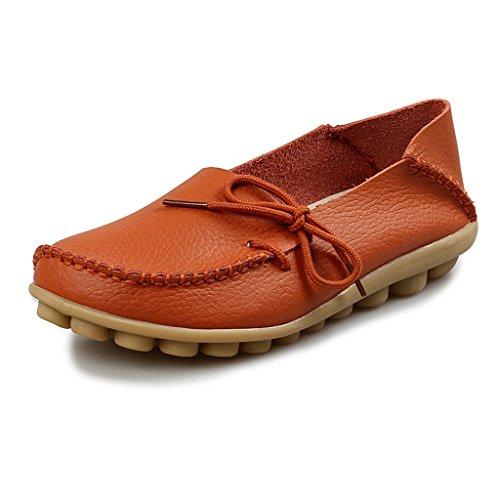 Eagsouni® Damen Mokassin Bootsschuhe Leder Loafers Schuhe Flache Fahren Halbschuhe Slippers Orange