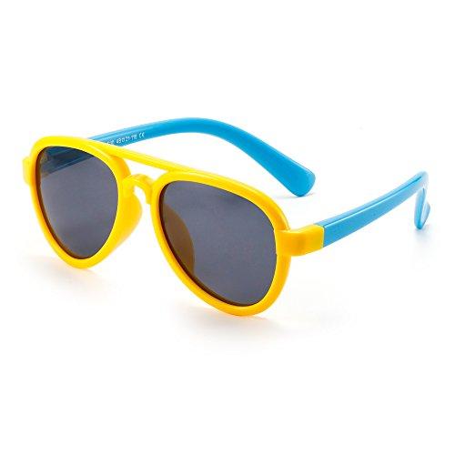 JM Kinder Flexibel Gummi Sonnenbrille Polarisiert Flieger Gläser für Mädchen Jungen Alter 3 zu 12(Gelb&Blau/Grau)