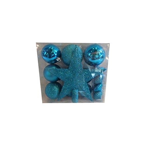 AC-Déco Kit 18 décorations de Sapin - Boule et cimier - Bleu Turquoise