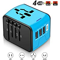 Agedate World Reisestecker Adapter, Universal Reise-Adapter mit 3 USB Ports und Type C International Ladegerät Sicherheit AC Steckdose für Reisen in über 220 Länder weltweit US UK EU AU Asien (Blau)