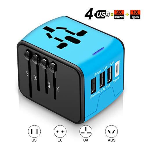 Agedate World Reisestecker Adapter, Universal Reise-Adapter mit 3 USB Ports und Type C International Ladegerät Sicherheit AC Steckdose für Reisen in über 220 Länder weltweit US UK EU AU Asien (Blau)