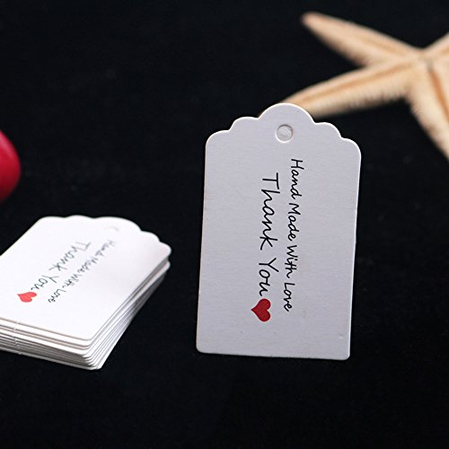 SWUK 100Pcs Kraftpapier Anhängeschilder Eintrittskarten hängende Label Geburtstag Geschenke leere Hochzeitskarten (3, 3cm*5cm)
