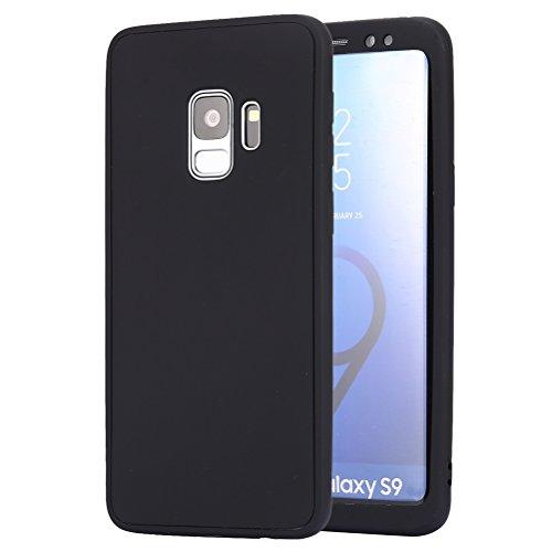 Ysimee Coque Samsung Galaxy S9, Housse Étui Intégral pour Samsung Galaxy S9 Ultra Mince Double Gel Silicone Souple Coque 360 Degrés Protection Complète Avant Et Arrière Téléphone Couverture,Noir