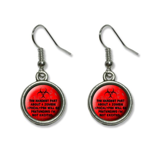 Hardest Part About A Zombie Apocalypse Red Distressed Novelty Dangling Dangle Drop Charm Earrings by Graphics and More