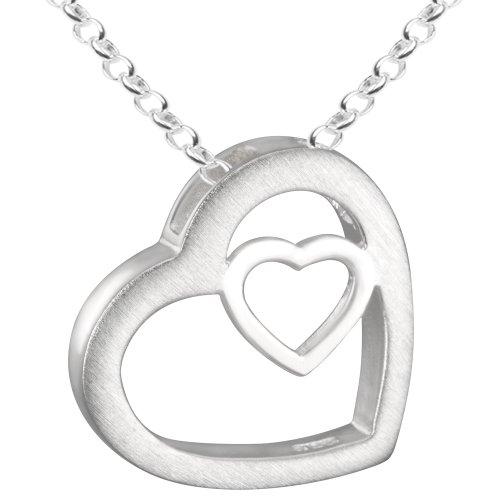 Vinani Anhänger Herz in Herz mit Erbskette 42 cm Sterling Silber 925 Kette Italien AHR-T42