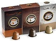 Real Coffee Flavored 30 capsules Hot chocolate, Vanilla, Caramel, Nespresso compatible