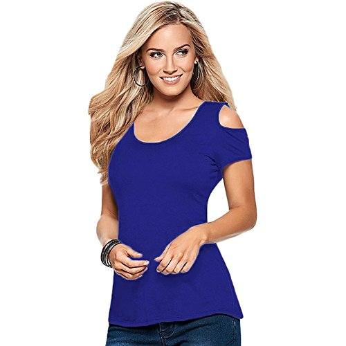 meinice Crochet posteriore Cold Shoulder Top Blue Large
