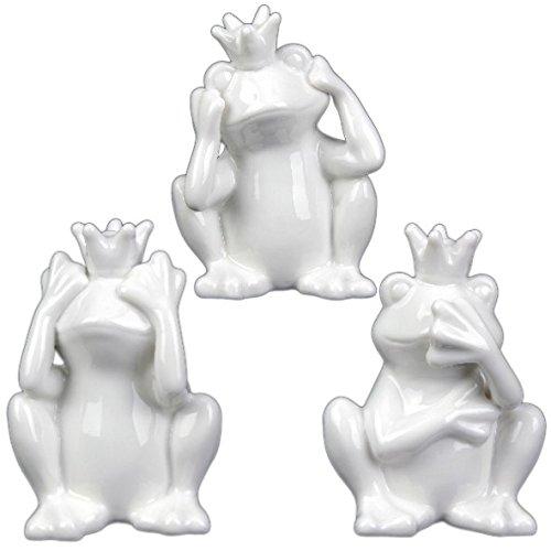 Holst Porzellan PSFR 008 FA1 Porzellanfigur 'Froschkönig' Set 3-tlg., weiß, 7.5 x 9 x 12 cm