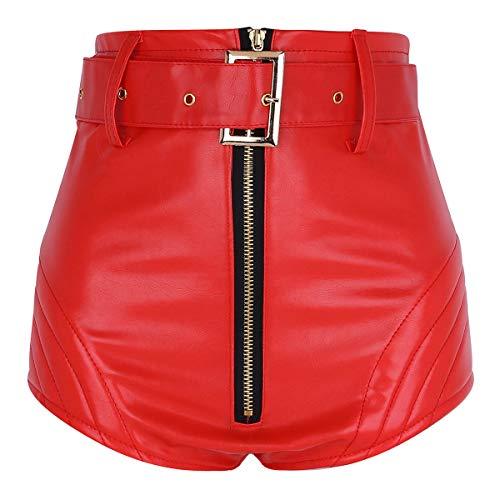 Agoky Damen Mädchen Wet Look Hot Pants Kurze Hose PU Leder Shorts Hohe Taille sexy Booty Gogo Tanz Bottoms Clubwear Rot M(Taille 66cm) - Sexy Lack Mini-rock