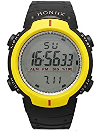 LCD Digital Water Resistant Sports Boy's Digital Watch with Black Dial Digital Display and Plastic Strap Yellow