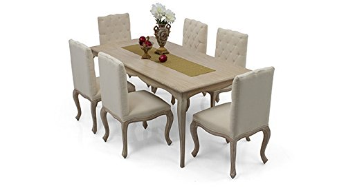 Urban Ladder Lyon Six Seater Solid Wood Dining Table Set (Natural Finish, Beige)