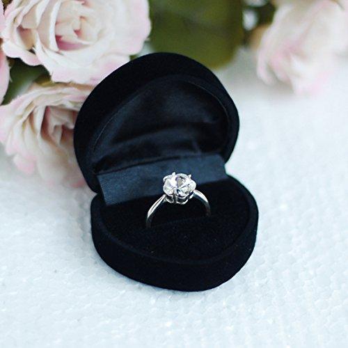 ROSENICE Schöne herzförmige samt Schmuck Ring Ohrring Geschenk Storage Box Etui (schwarz) (Ring-box-sicherheit)