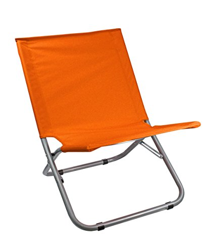Vetrineinrete® spiaggina pieghevole per spiaggia mare e piscina sedia sdraio in metallo e acciaio rivestita in tessuto arancio p12