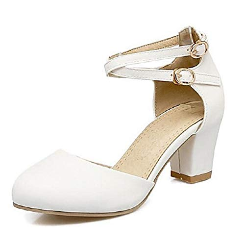 Damen Komfortschuhe PU (Polyurethan) Summer Heels Chunky Heel Weiß/Schwarz/Pink/Täglich@Weiß_US6 / EU36 / UK4 / CN36 Pu Chunky Heel