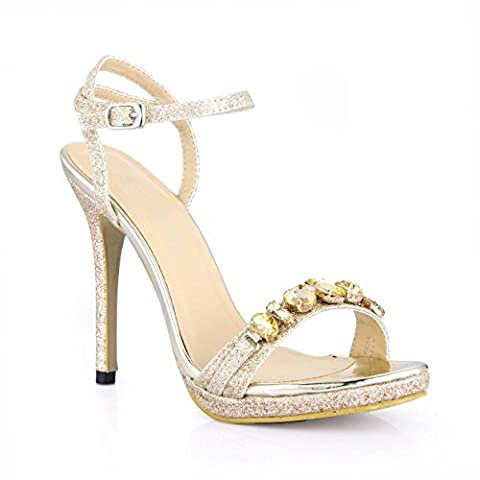 Sandales femme marée Chine nouvelle amende annuelle de chaussures à haut talon sables d'agréable dîner de forage de l'eau chaussures femmes, or pâle