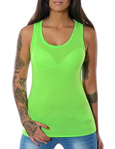 Damen Tank Top Shirt Ärmellos Spitze (weitere Farben) No 12658, Farbe:Light Grün Neon;Größe:One Size