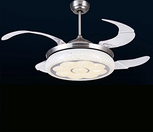 Deckenventilator Mit Licht Innen Weiße Kristallwelle LED Stealth Lüfter  Kronleuchter 24W Durchmesser 350mm Erweitern 700mm 220V 42 Inch 36w Dimming