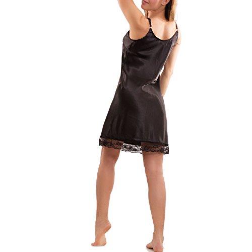 Toocool - Vestito donna miniabito fondo pizzo effetto raso abito nuovo party CC-1149 Nero