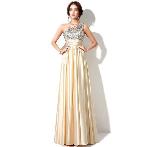 Frauenkleid Damen Kleid Mode Sexy Stickerei Perlen Stück One Shoulder Party Hochzeit Cocktail langes Kleid (Farbe : Champagner, Size : US18) (Trim Champagner-perlen)