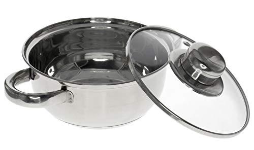 Casseruola con coperchio in vetro trasparente, pentolino inox con 2 manici, diametro 20 cm