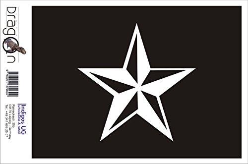 INDIGOS UG Aufkleber Autoaufkleber - JDM Die Cut Auto OEM - Nautischer Stern - 110x110 mm schwarz - Auto Laptop Tuning Sticker Heckscheibe LKW Boot - Nautische Weihnachten