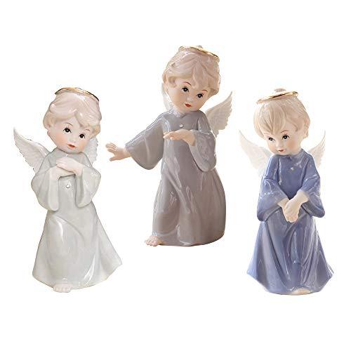 ufengke Kleine Süße weiße Keramik Engel Statue Cherub Statue,mit Halos und Flügeln,3Teile/Satz,Bunte Kleidung -