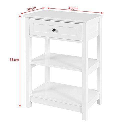 SoBuy® FBT46-W Beistelltisch Nachttisch Couchtisch in weiß mit einer Schublade und 2 Ablagen - 3