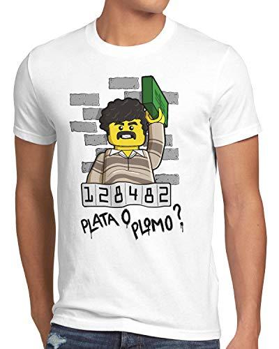 style3 Plata o Plomo Herren T-Shirt Pablo bloque Kokain, Farbe:Weiß, Größe:4XL -