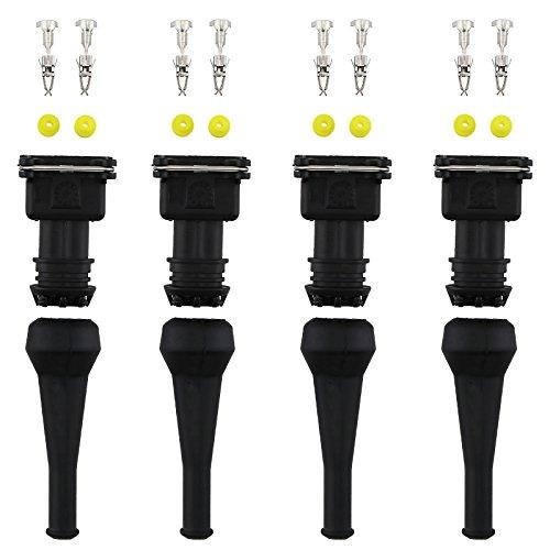 D2D 4 Stück Kraftstoffeinspritzverbinder EV1 Wasserdicht 2-Wege Injektor Verkabelung Stecker Kabelbaum Kit Anzug für Auto