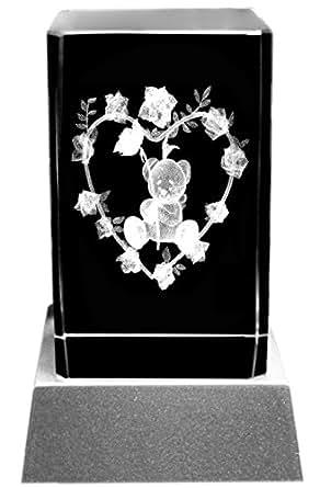 Bloc de verre 3D Cristal laser avec éclairage LED Motif nounours et roses