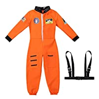 iixpin Unisex Boys Girls Astronaut Costume Spaceman Suit Halloween Cosplay Long Sleeves Romper Jumpsuit with Straps Set
