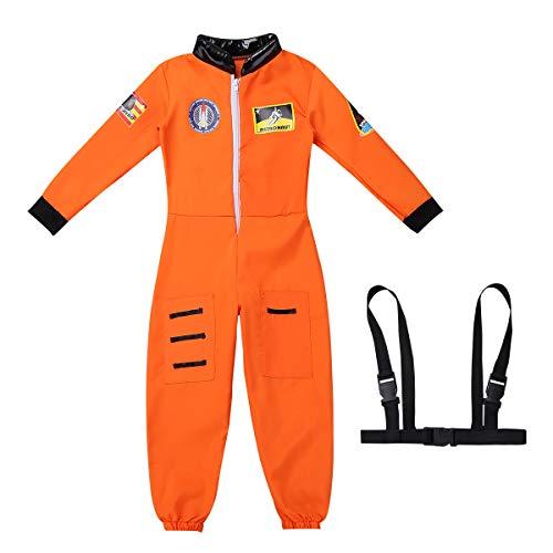 iiniim Kinder Astronaut Kostüm Weltraum Weltall Fahrer Anzug Rollenspiel Set Fasching Karneval Verkleidung für Jungen Mädchen Orange 104-116/4-6 ()