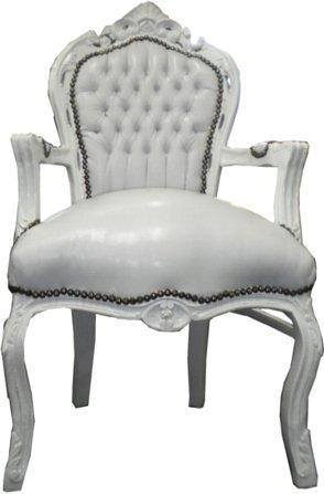 Barock Esszimmer Stuhl mit Armlehnen Weiß/Weiß Ludwig XIV Stuhl Wohnung Wohnen Rokoko Jugendstil...