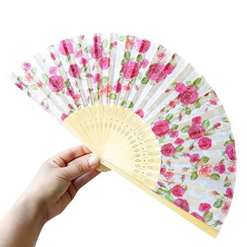 Challeng Bambus Faltbar Handfächer, Blumen Muster Spitze Fächer Silk faltender Hand-Fans, Partei Tuch Tanz Hochzeits Dekoration Heißer (A)