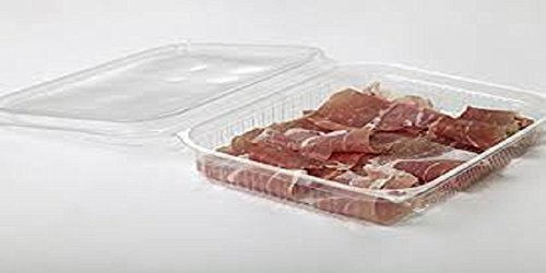 Vaschette rettangolari in ops cc.250 confezione 200 pz - contenitori trasparenti con coperchio bombato con chiusura ermetica ottimi per confezionare affetati o alimentari in genere