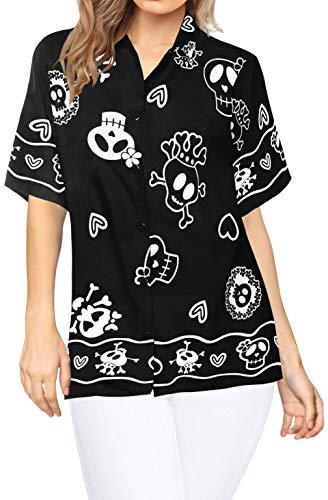 LA LEELA Pumkin Scary Horror Grusel Ghosts Witch Party Festliche Schädel Happy Halloween kostüm Skelett Kürbis Teufel Blusen Knopf unten entspannt Frauen Hawaiihemd Urlaub Kurze Ärmel L - Ghost Lady Kostüm