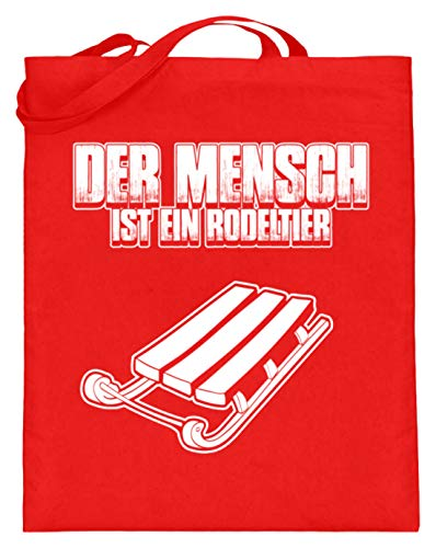 shirt-o-magic Rodel Schlitten: Mensch = Rodeltier - Jutebeutel (mit langen Henkeln)...