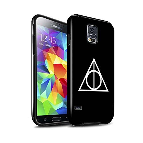 Stuff4® Glanz Harten Stoßfest Hülle/Case für Samsung Galaxy S5/SV/Schwarz Muster/Heiligtümer Todes Inspiriert Kollektion