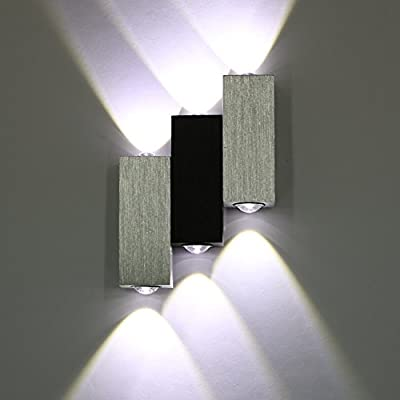 Amzdeal 6W 6LED Up Down Wall Light LED Wall Lighting in Day White for Living Room, Bedroom, Kitchen and Dining Room
