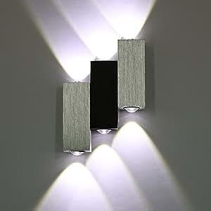 amzdeal 6w applique murale 6 leds luminaire d coratif d 39 int rieur lampe de mur pour salle blanc. Black Bedroom Furniture Sets. Home Design Ideas