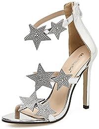 ZPL Mujer Sandalias Estilete Alto Tacón Zapatos Mirar furtivamente Dedo del pie Tobillo Correa Negro Plata Estrella...