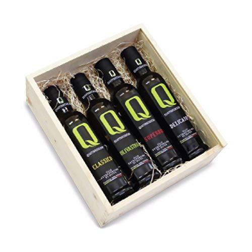 Collezione olio extravergine - quattrociocchi - lazio - scatola di legno - x 250 ml - -