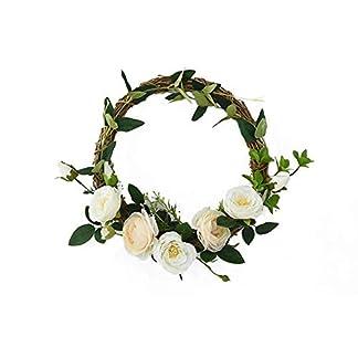 Guirnalda Corona de flores artificiales camelia guirnalda seda flor artificial flor tapicería puerta decoración umbral de boda decoración guirnalda conjunto