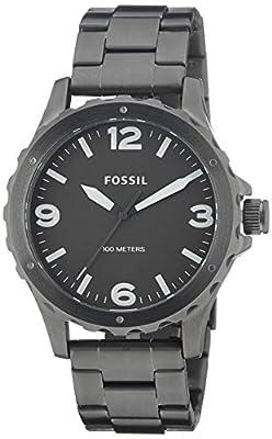 Fossil Nate - Reloj de cuarzo para hombre, con correa de acero inoxidable chapado, color gris