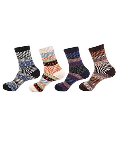 4 Pairs Men Women Fairisle Pattern Winter Woolen Socks - Thermal Knitting Wool Blend, Warm, Breathable, for Outdoor Sports Leisure Walking Trekking Cycling Camping Golf Gym, Unisex UK Size 5-8