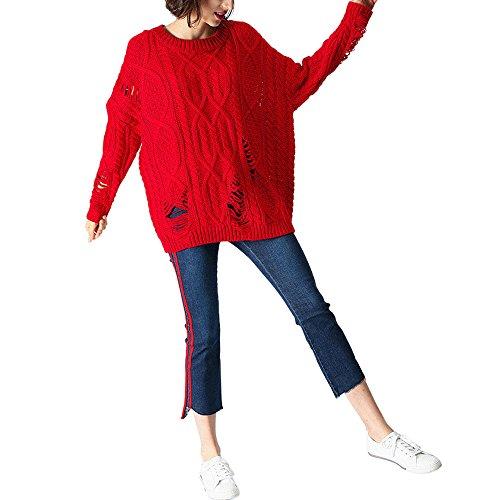 CICI RAN Frauen Art und Weisebeiläufiger Übergrößen Pullover langer Hülsen Lochstrickjacke